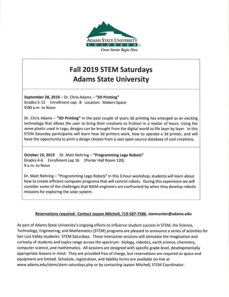 Adams State STEM Saturdays